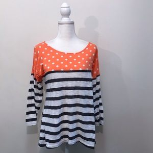 Anthropologie Postmark Coral White Black Top M